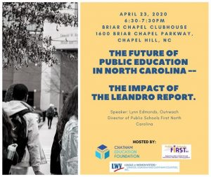 The Future of Public Education in North Carolina and the Impact @ Chatham Education Foundation | Pittsboro | NC | United States